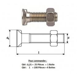 BOULON Tête Fraisée 2 Ergots DIN11014 M12X35 ( prix aux 100 pièces )