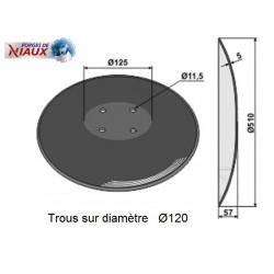 DISQUE CRENELE TYPE AMAZONE-CATROS Ø510x5 , 4 TR. Ø11.5 EA120 / NIAUX